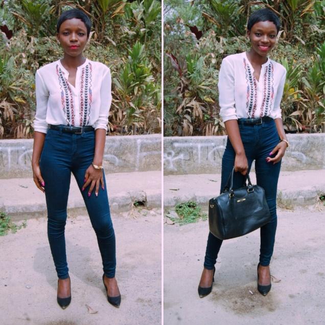 high-waist-denim-white-blouse-black-stilletos-pixie-cut-3.jpg